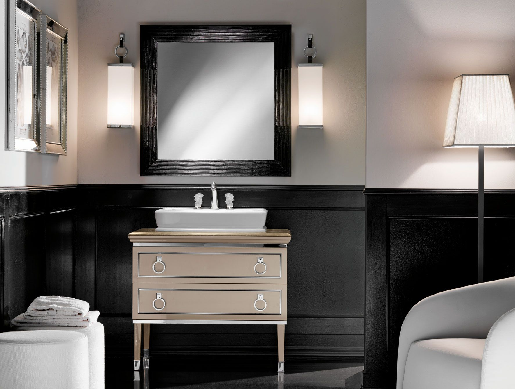 Web Image Gallery Lutetia traditional Italian Bathroom Vanity inspired by Art Deco design with lacquered base in beige with chrome metal silver trim