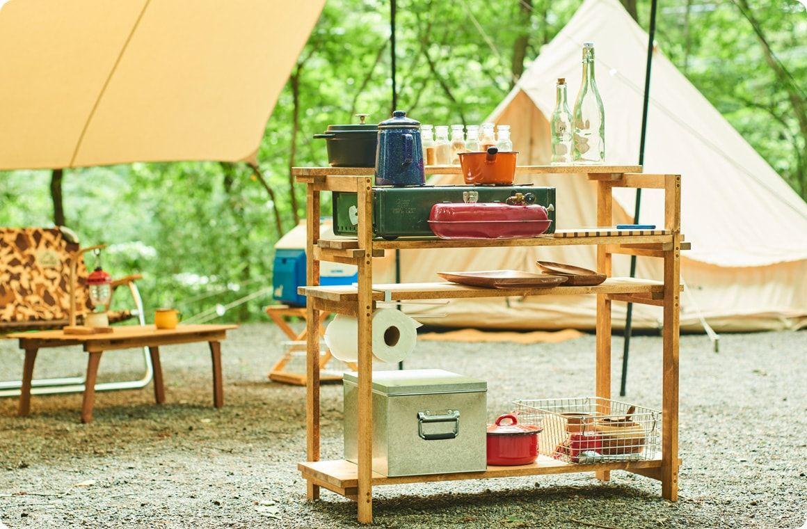 キャンプギアをdiy 変幻自在に使える木製キッチンテーブル キッチンテーブル キャンプ テーブル Diy キャンプ