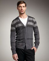Burberry Men's Check Cardigan