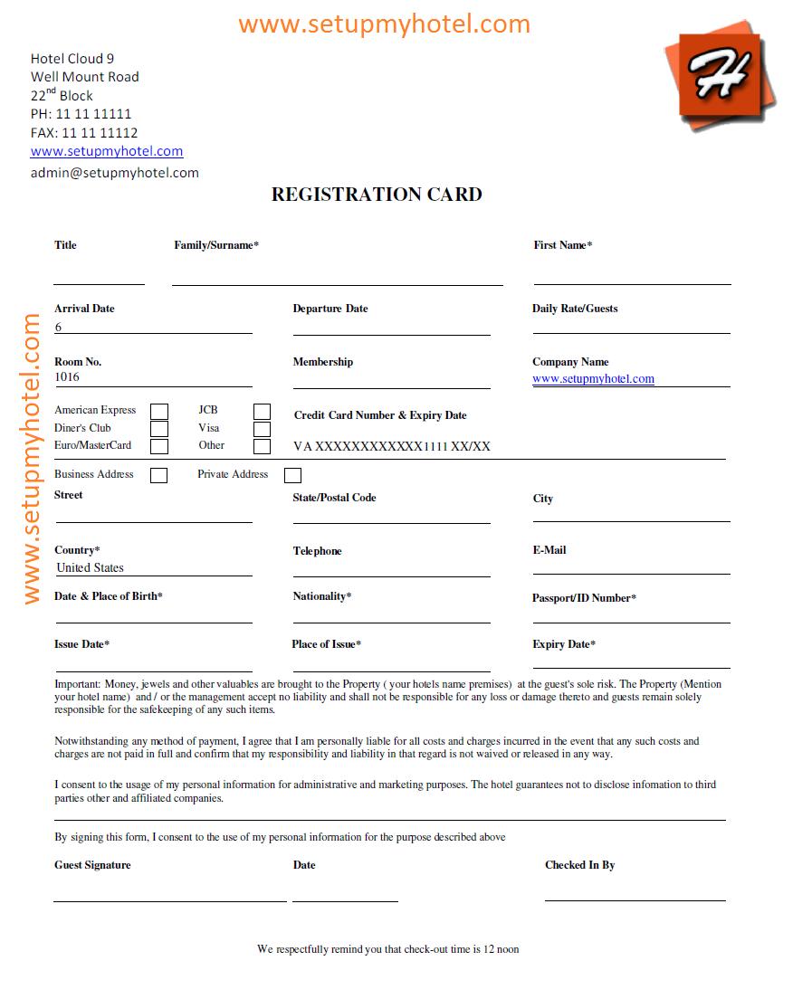 Hotel Guest Registration Card Sample