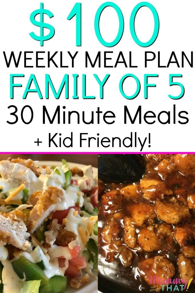 $100 Weekly Meal Plan Family Of 5 + 30 Minute Meals images