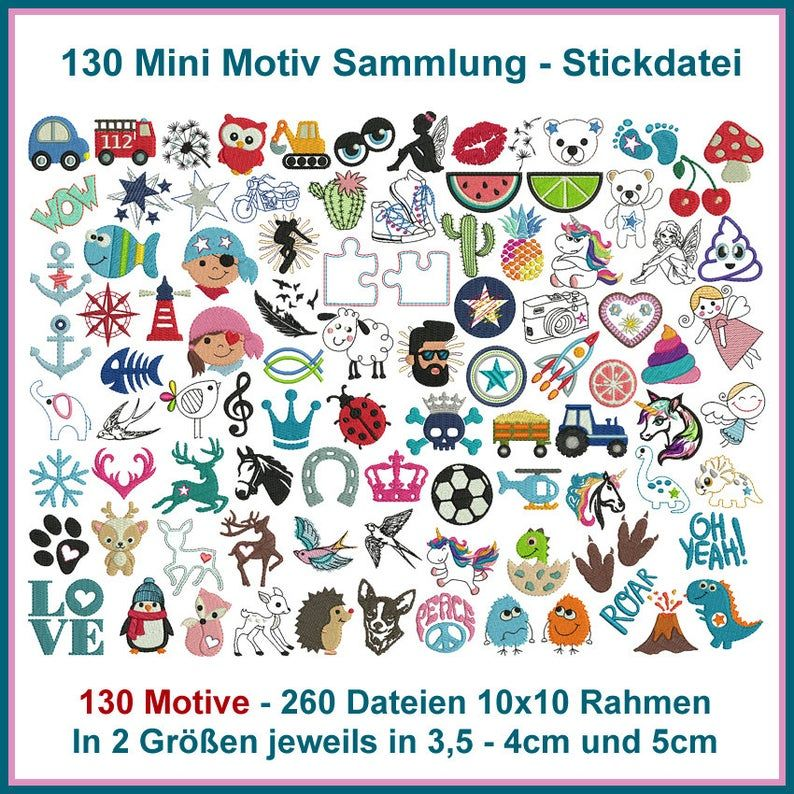 Stickdatei Mini Motiv Sammlung Stickmuster 130 Motive Vollstick Und Linienstick 10x10 Rahmen Baby Tiere Blumen Rockqueenembroidery In 2020 Embroidery Files Embroidery Designs Embroidery