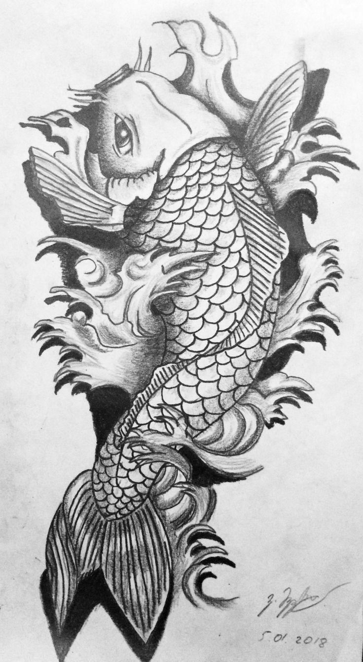 Oriental Tattoo Fish Black And Gray Tattoos In 2020 Koi Dragon Tattoo Koi Tattoo Koi Fish Tattoo