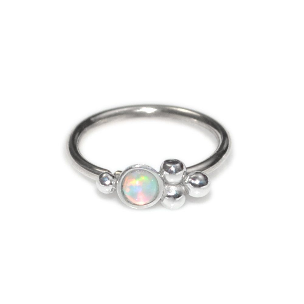 Without piercing nose ring  Silver Nose Ring with mm White Opal g  Daith Earring Rook