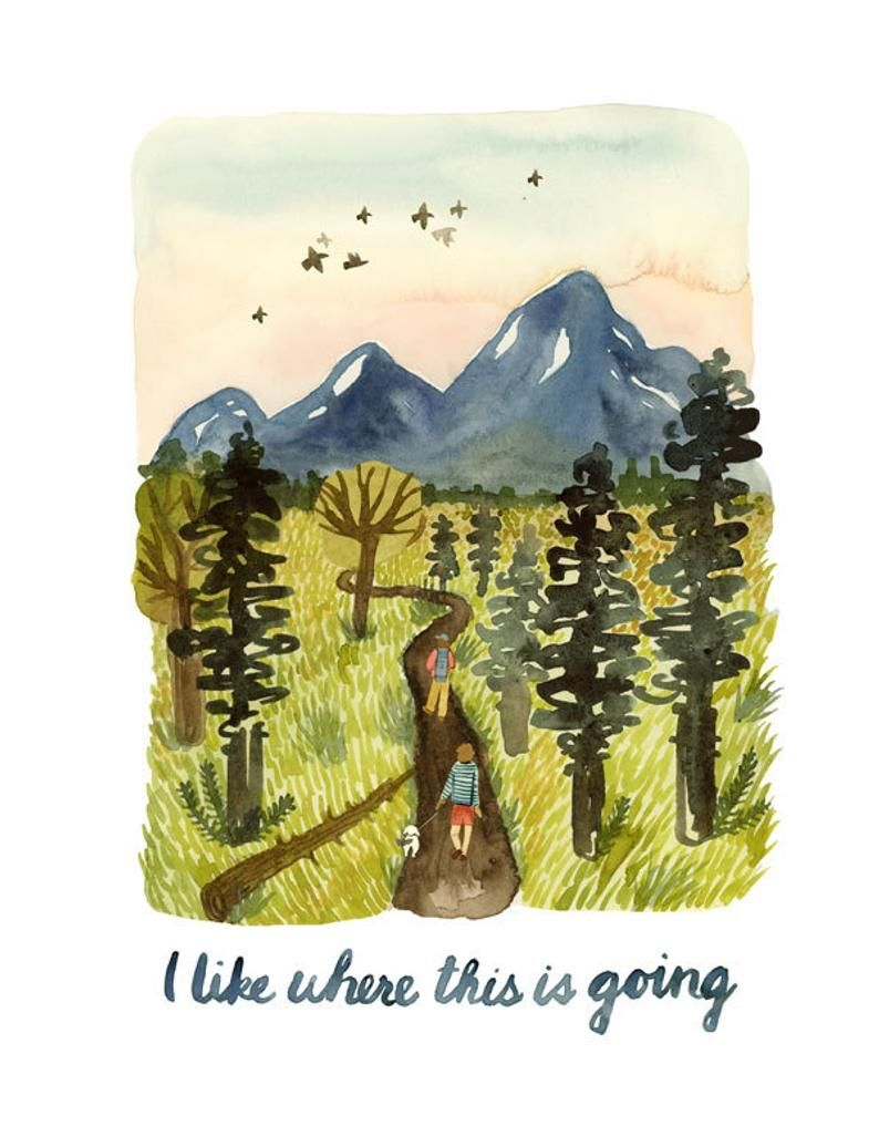 Postcard Welcome to Adventure Little Baby Watercolor Illustration Camping Lettering