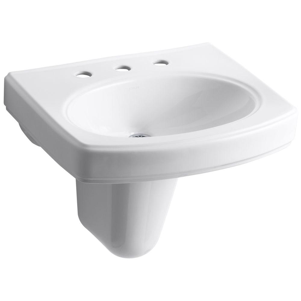 Kohler Pinoir Wall Mount Vitreous China Bathroom Sink In White With Overflow Drain K 2035 8 0 In 2020 Wall Mounted Bathroom Sinks Bathroom Sink Sink