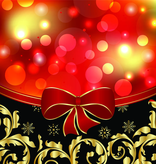 Shiny Christmas Backgrounds With bow design vector 02 Backgrounds
