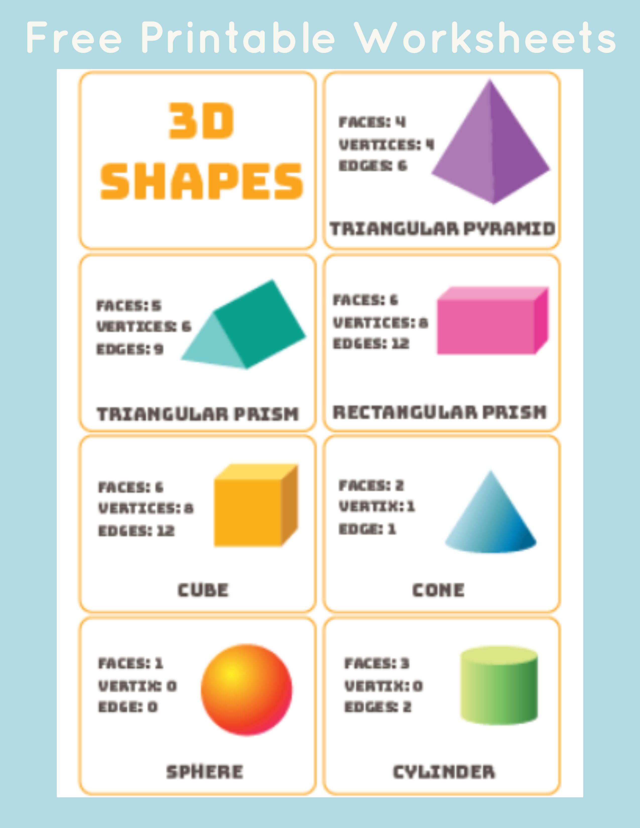 3D Shapes Word Mat/Poster | TPT | Teaching colors, 3d shapes