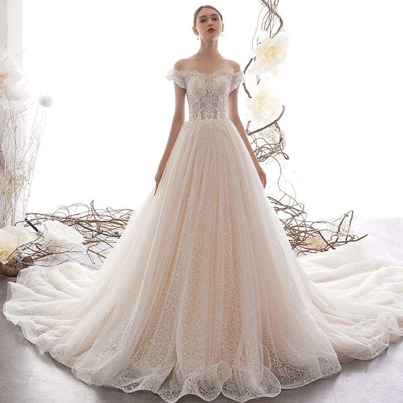 Best Champagne Lace Wedding Dresses 2019 A-Line / Princess