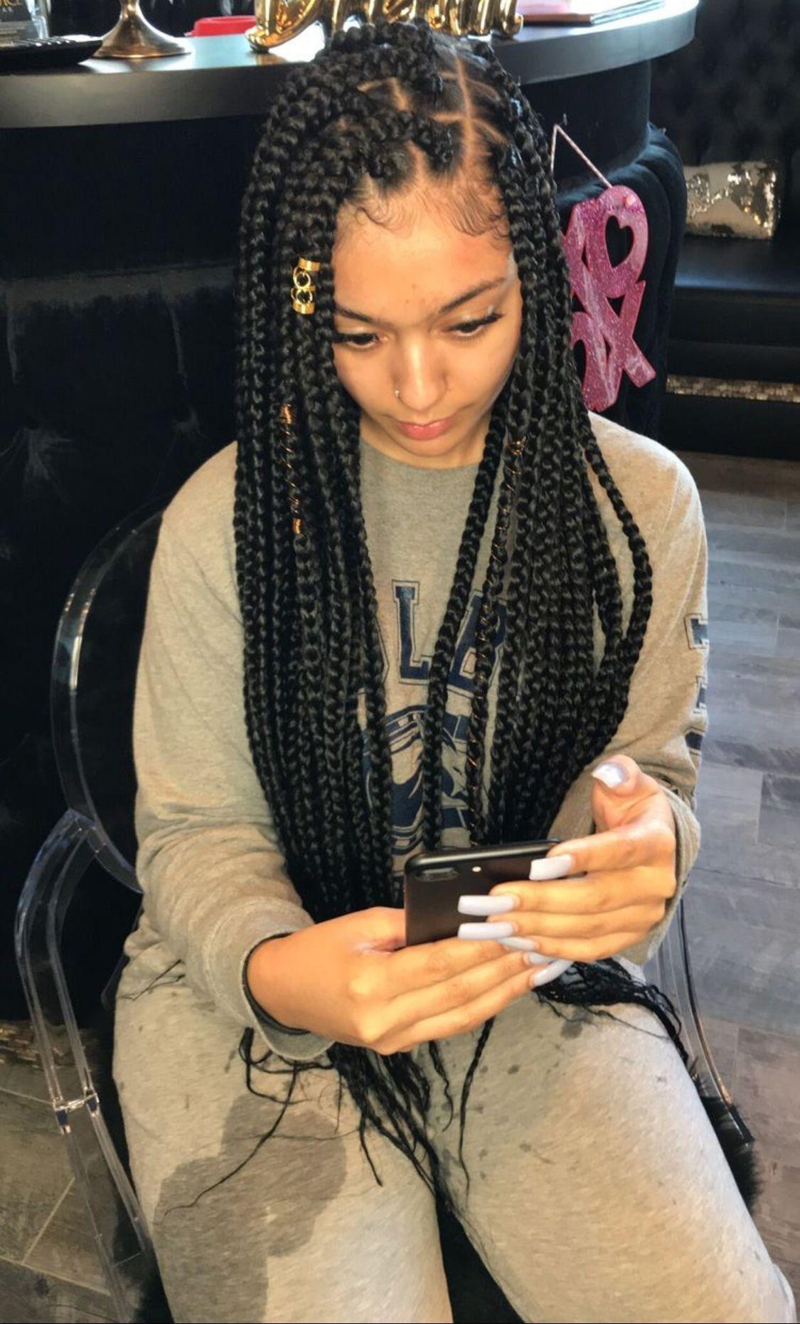 Medium Sized Single Braids Hairstyles Ombre Box Braids ...
