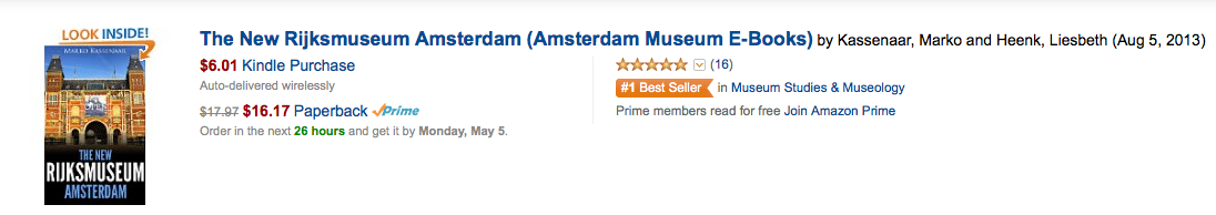 Your Kindle Guide to the New #Rijksmuseum Amsterdam. Richly illustrated and packed with information on all highlights. www.amsterdammuseumebooks.nl