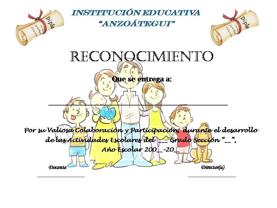 Planeta Escolar Diplomas Y Reconocimientos A Padres Y Familia Diplomas De Agradecimiento Formatos De Diplomas Diplomas Para Maestras