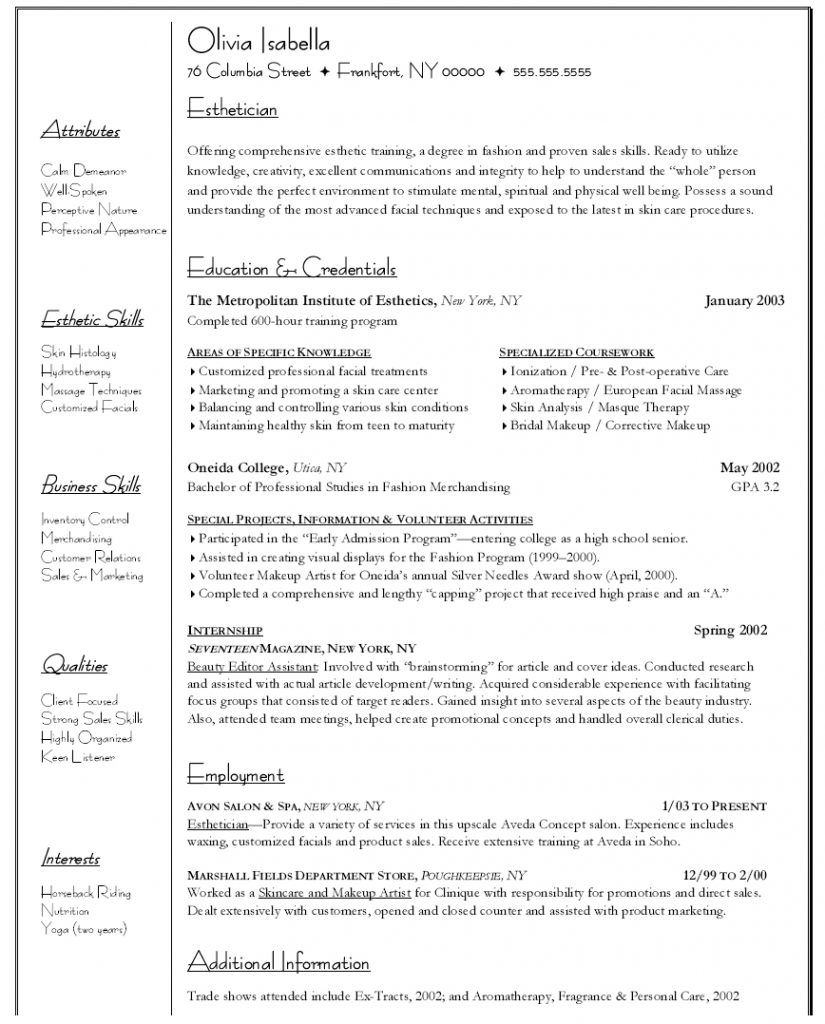 Esthetician Esthetician resume, Cover letter for resume