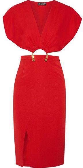Kerr Embellished Cutout Silk-blend Dress - Red Haney M3eIfZf