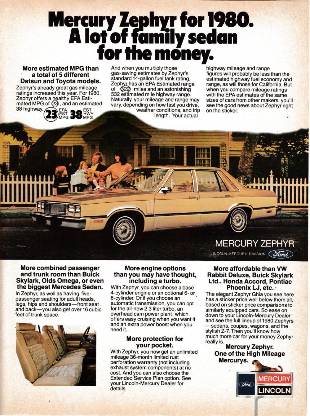 1980 Mercury Zephyr Family Sedan Picket Fence Background Original