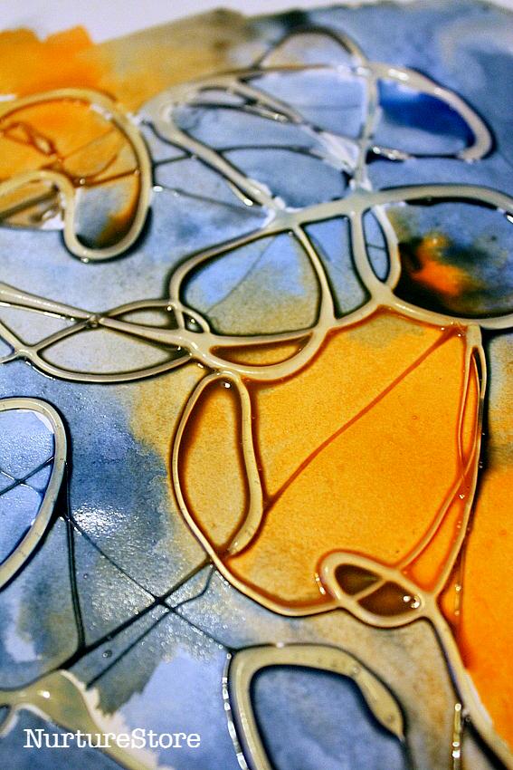 Salt, glue and watercolor paint process art activi
