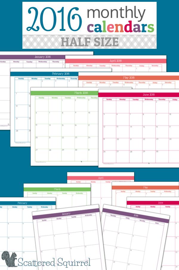 Half Year Calendar : Half size monthly calendar printables