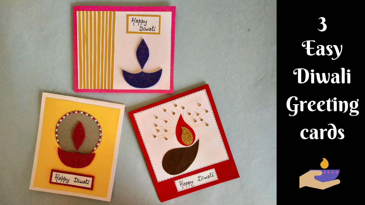 Quick And Easy Handmade Cards For Diwali Diy Greeting Card Diwali Cards Handmade Diwali Greeting Cards Diwali Greeting Cards Diwali Cards