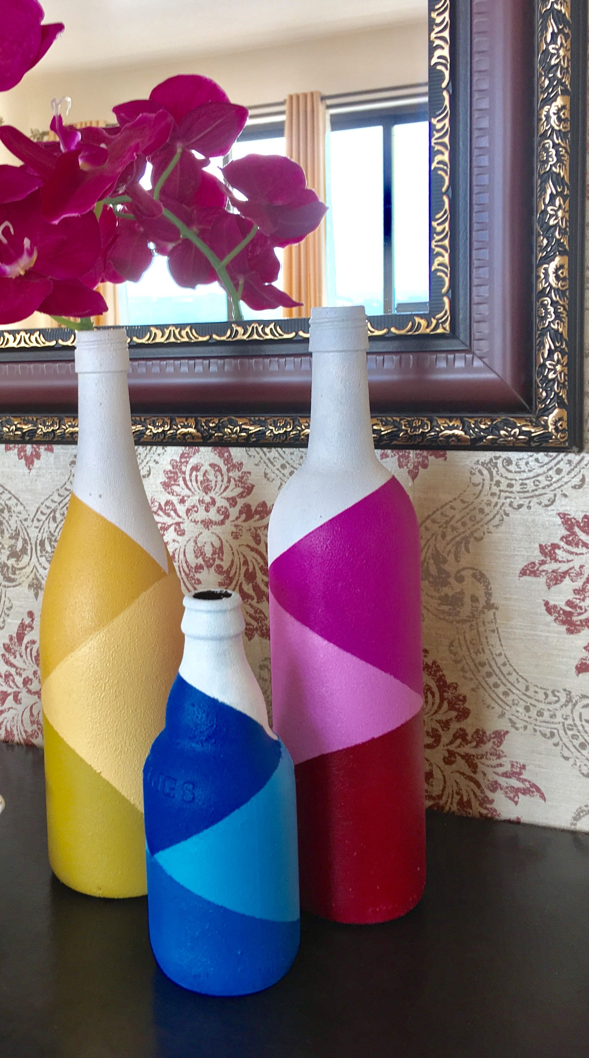 Upcycle Paint Glass Bottles With A Simple Two Ingredient Easy To Make Chalk Paint Painted Glass Bottles Hand Painted Wine Bottles Upcycle Glass