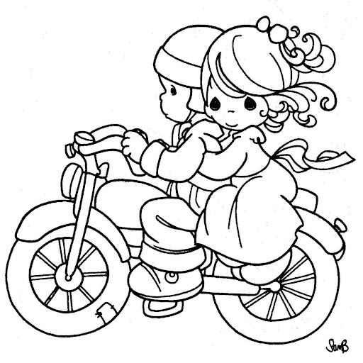 Precious Moments Coloring Page S Couple Enjoying A Motorcycle