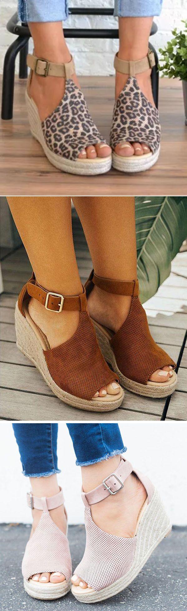Women Chic Espadrille Wedges Adjustable Buckle Sandals -6964