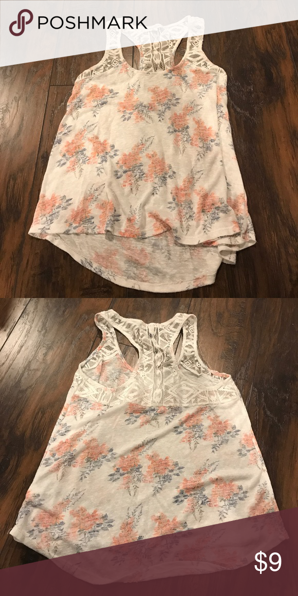 00fe8463e7 Aeropostale floral tank lace back, kind of sheer but if you wear a ...