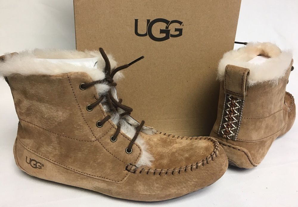 21ddcdbab0b Details about UGG QUINCY CHESTNUT SUEDE / SHEEPSKIN LACE UP ANKLE ...