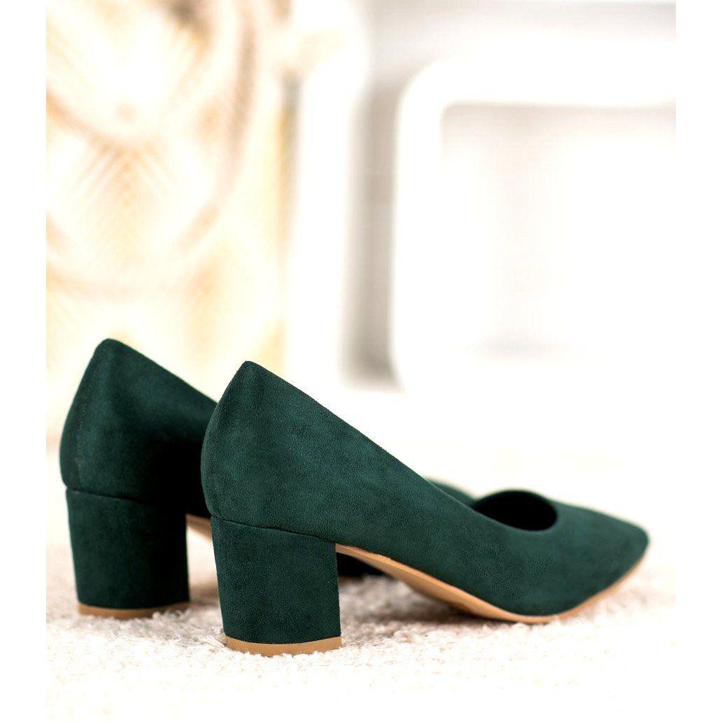 Czolenka Damskie Smallswan Small Swan Wygodne Zamszowe Czolenka Zielone Shoes Mule Shoe Fashion