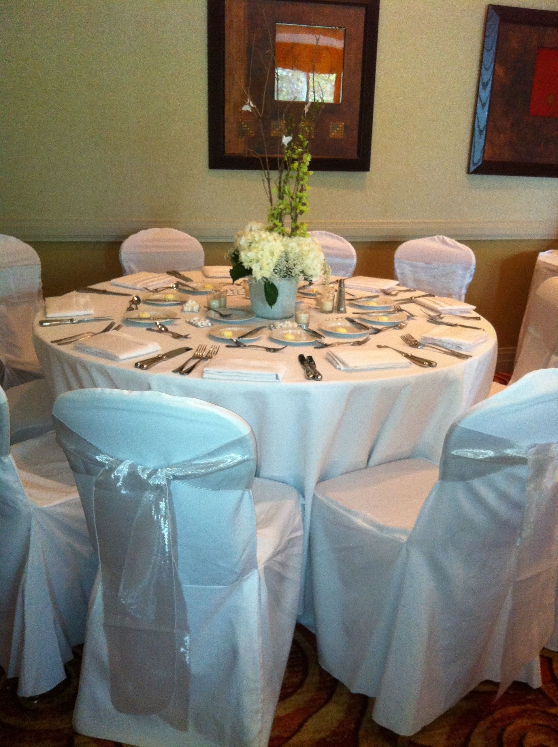 White chair covers with white sash - Simple White Sash And White Chair Covers