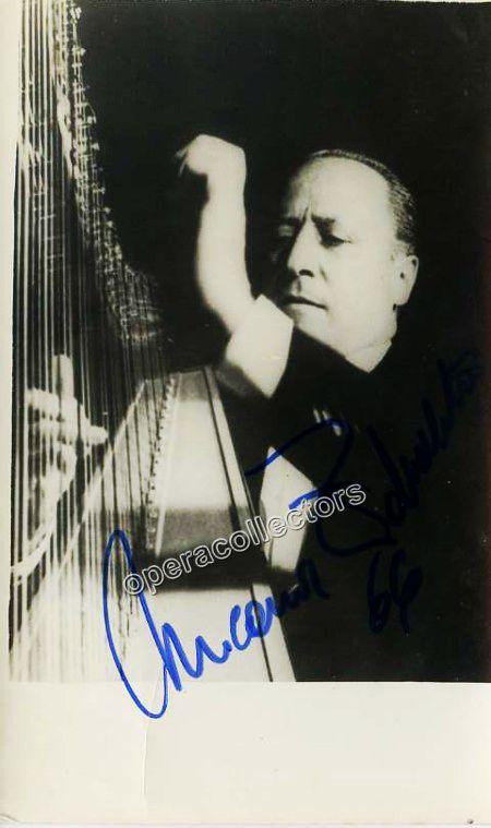 Spanish harpist (1907-1993), world-class virtuoso and populariser of the harp. Shown playing harp, 3.5 x 5.5 inches.