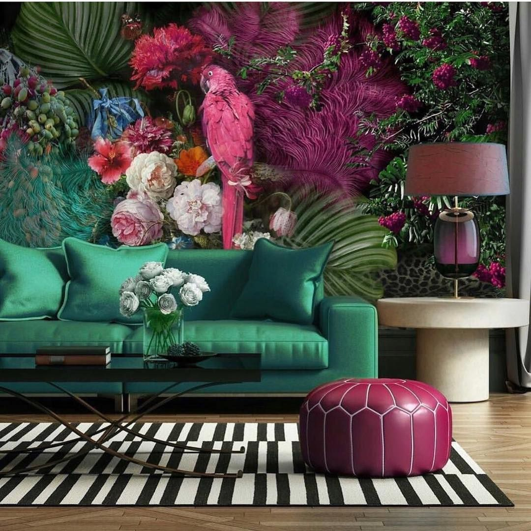 Hello Sunday This Is For You If Youre Looking For A Big Bold Burst Of Colour To Really Wake You Up This Morning Wallpaper Living Room Decor Living Room Green