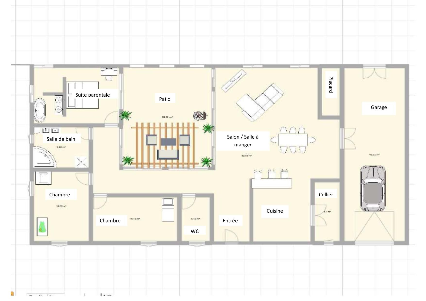 f73a948425a68 Plan maison 3 chambres avec patio