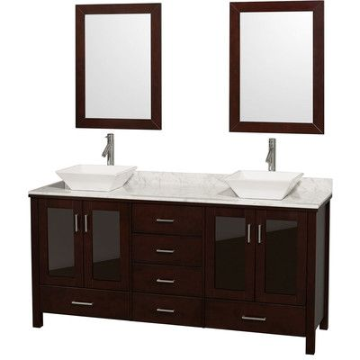 "Lucy 72"" Double Espresso Bathroom Vanity Set with Mirror Top Finish: White Carrera Marble, Sink Finish: White Carrera Marble - http://bathroomvanitiespot.com/lucy-72-double-espresso-bathroom-vanity-set-with-mirror-top-finish-white-carrera-marble-sink-finish-white-carrera-marble-641622108/"