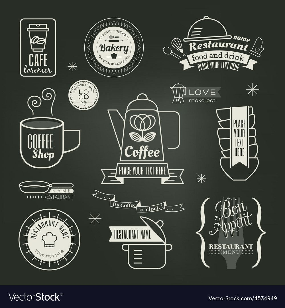 Vintage Retro Restaurant Cafe Logo Design Vector Image On Vectorstock Cafe Logo Design Cafe Logo Restaurant Logo Design