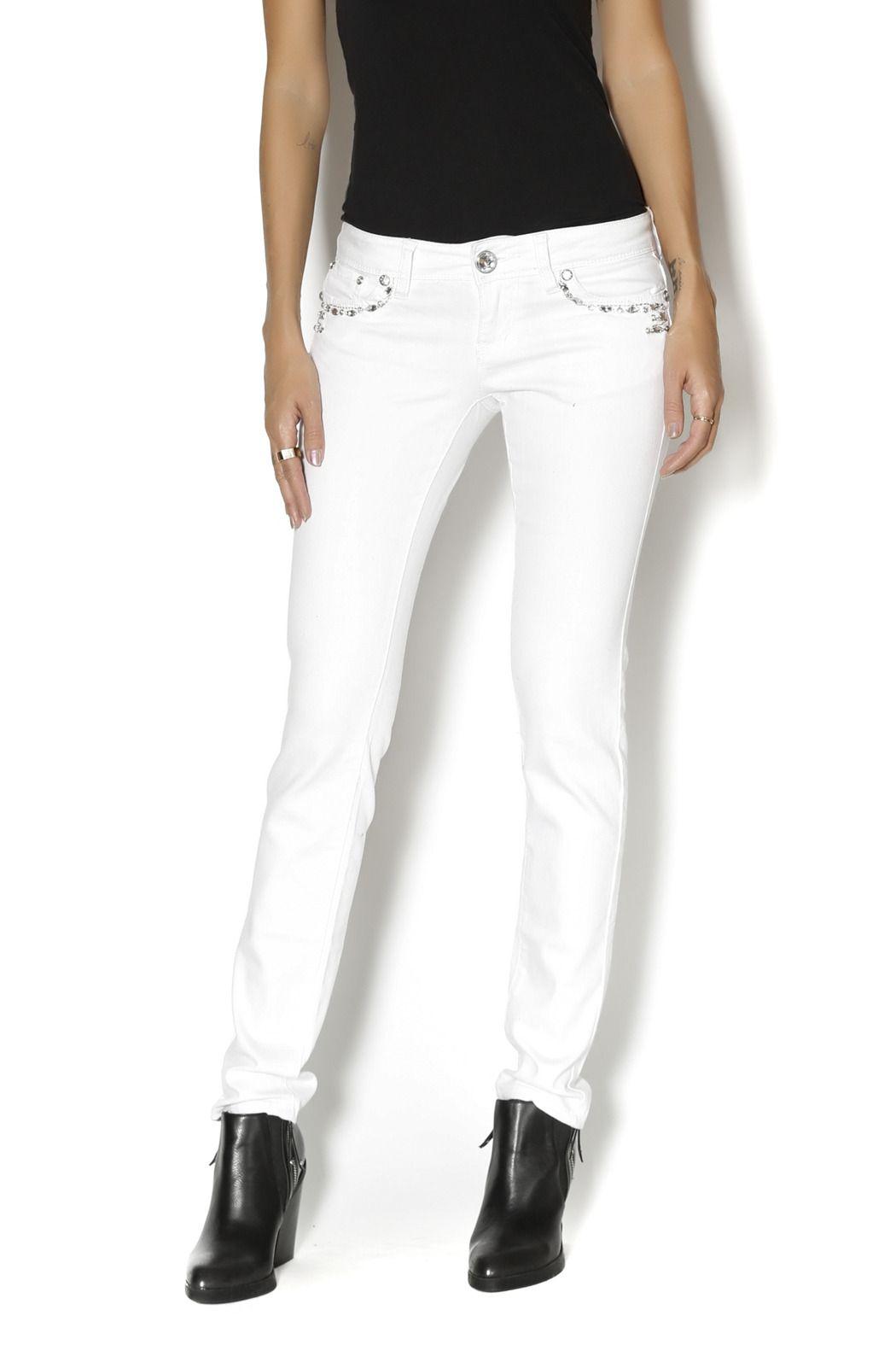 White Embellished Skinny Jeans - main