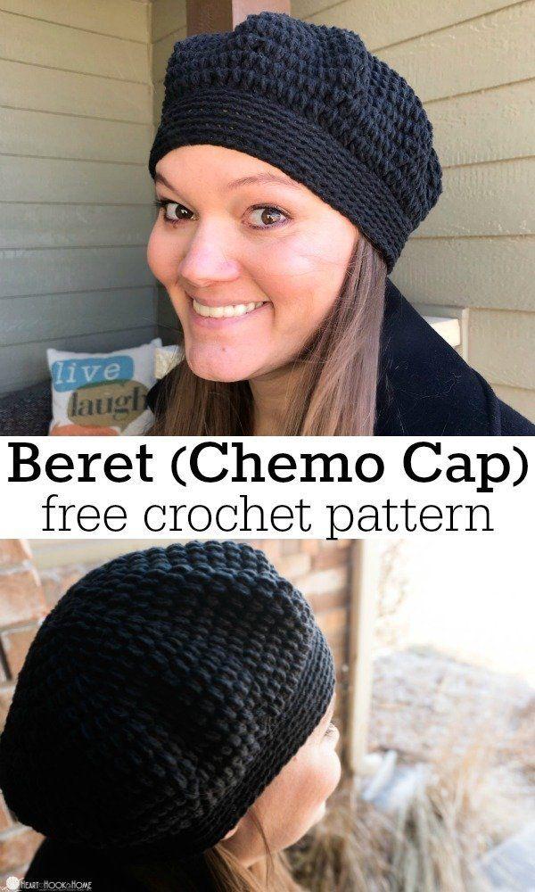 Lazy Day Beret: Chemo Cap Crochet Pattern #beaniehats