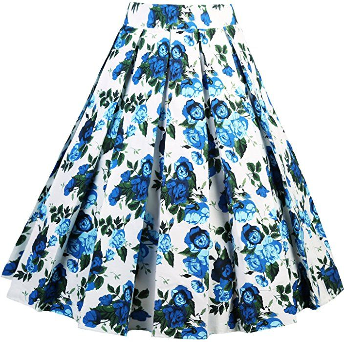 buy cheap hot-selling professional latest selection Dressever Women's Vintage A-Line Printed Pleated Flared Midi ...