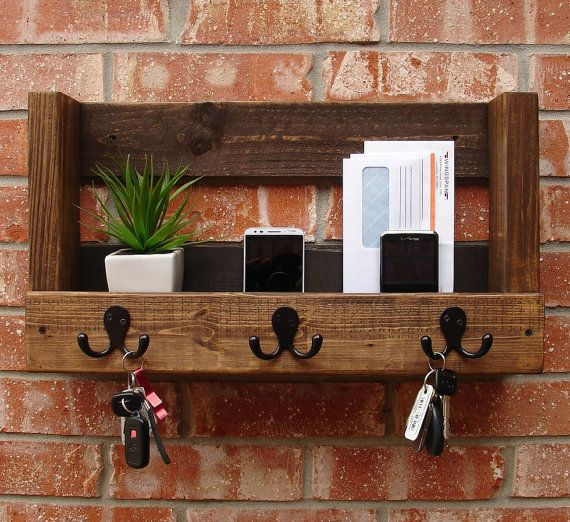 Rustic Entryway Organizer For Mail Phone Keys By Keodecor On Etsy Rustic Entryway Decor Entryway Key Holder