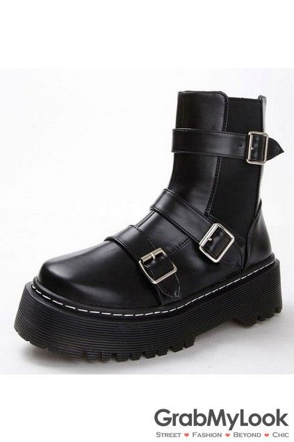 996f04766a91 GrabMyLook Black Leather Punk Rock Buckles Flat Thick Sole Military Women Boots  Shoes