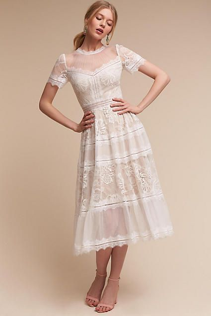 Anthropologie Saylor Wedding Guest Dress Guest Attire Midi Wedding Dress Little White Dresses