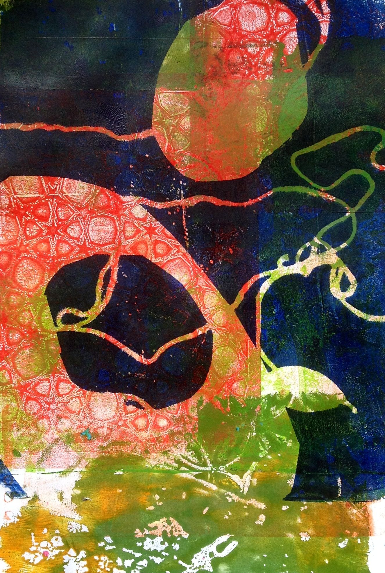 I like gelli prints that spark the imagination, that aren't just pretty. I believe the author is a Mr T.