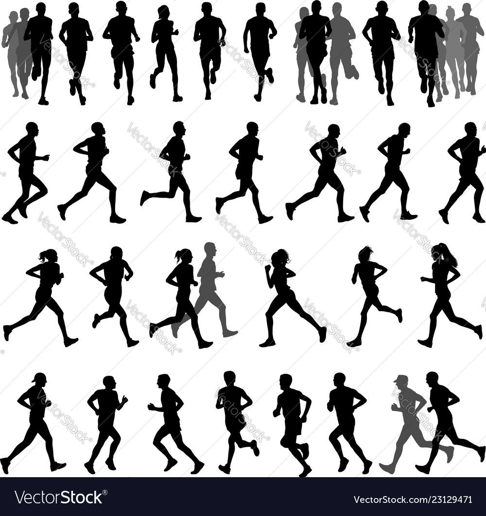 Runners silhouettes collection Royalty Free Vector Image