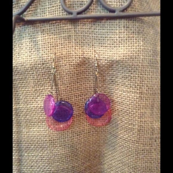 "Cute colored earrings Purple, pink and blue ""lollipop"" look dangle earrings for pierced ears Jewelry Earrings"