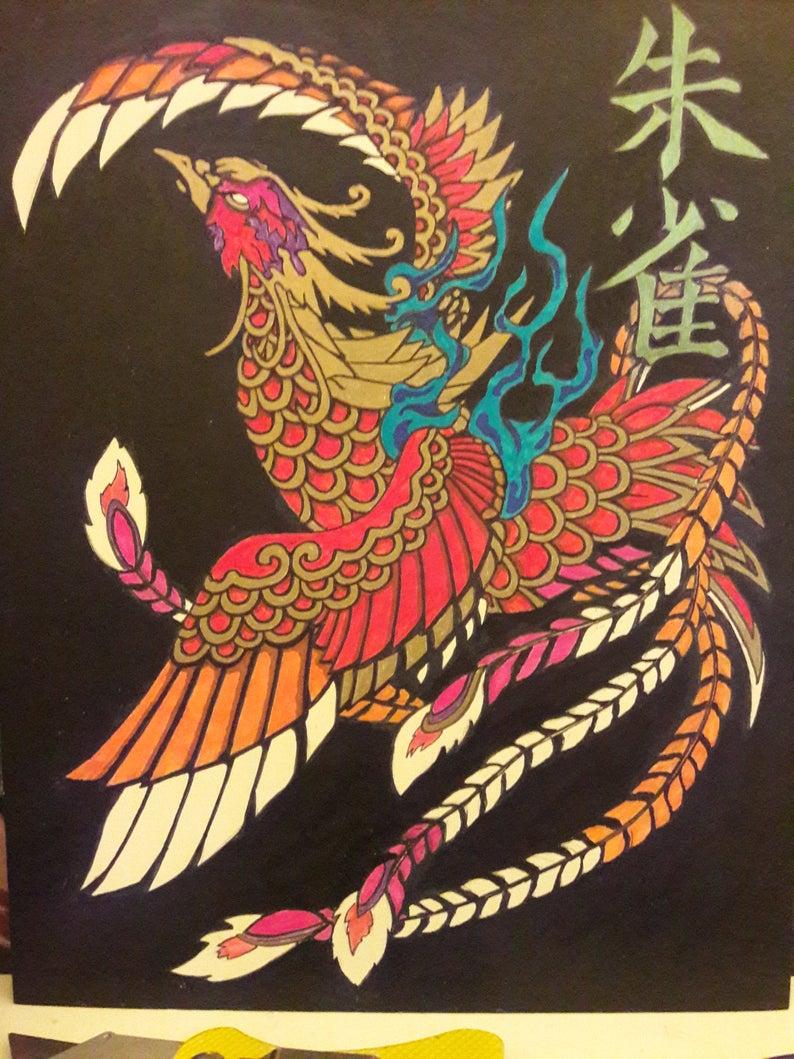 Suzaku Bird Google Search With Images Art Birds Vermillion