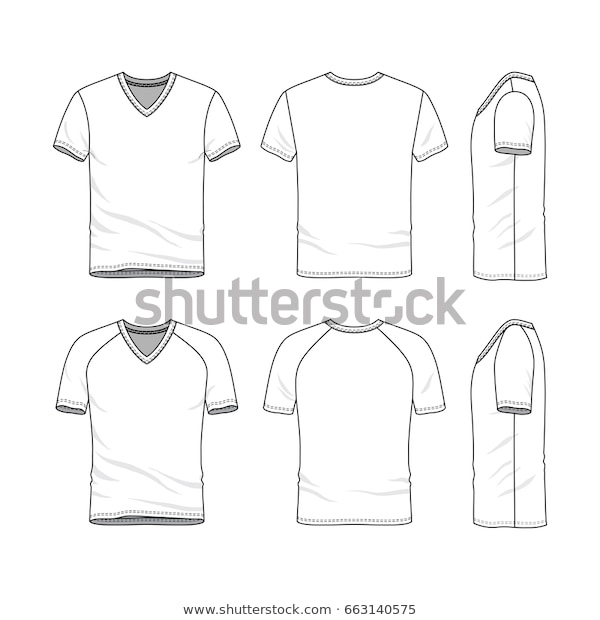Download Vector Templates Clothing Set Front Back Stock Vektorgrafik Pertaining To Blank V Neck T Shirt Template In 2021 Shirt Template Outfit Sets Blank T Shirts