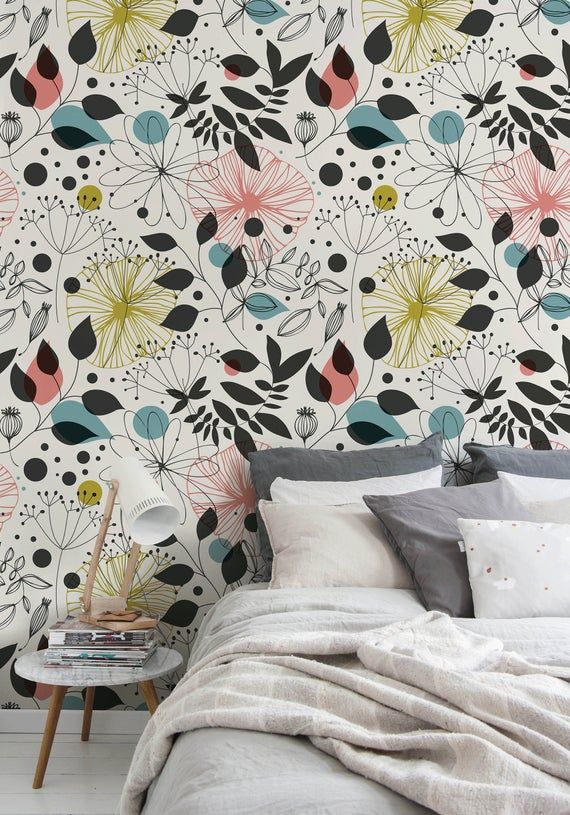 Removable Wallpaper Peel And Stick Wallpaper Wall Paper Wall Etsy Vintage Floral Wallpapers Peel And Stick Wallpaper Removable Wallpaper