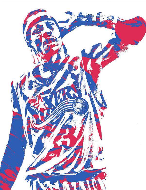 Allen Iverson Philadelphia 76ers Pixel Art 14 Art Print by ...