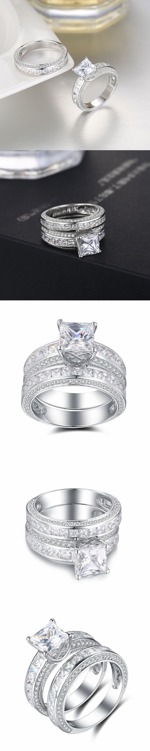 76a366435 Lajerrio Jewelry Princess Cut White Sapphire Sterling Silver Ring Sets