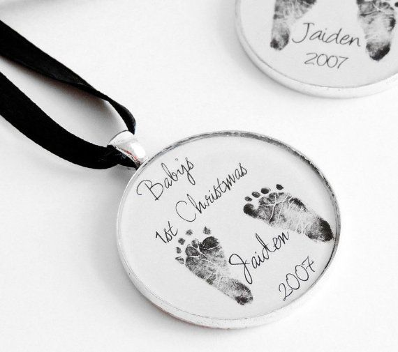 Baby/'s footprints Custom Keepsake Ornament Actual picture