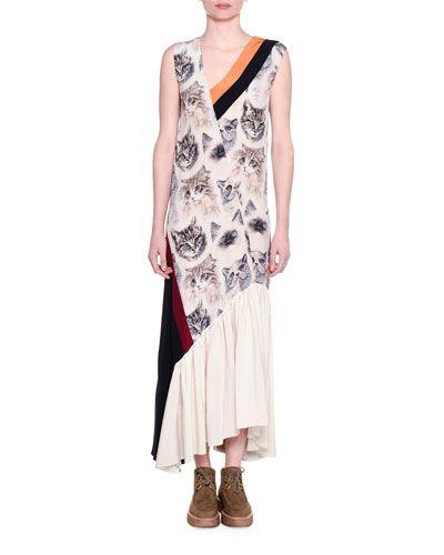 5a16bcca4988 STELLA MCCARTNEY Cat-Print Sleeveless Maxi Dress